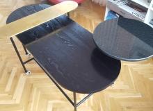 Метална маса с плотове от Ясен/Мрамор/Месинг
